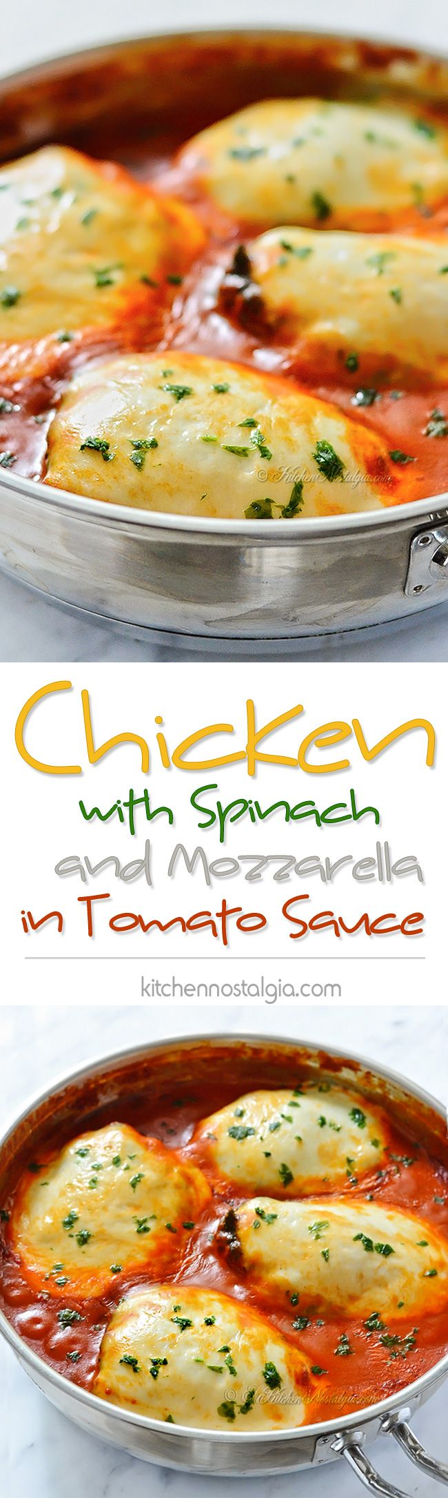 Chicken with Spinach and Mozzarella in Tomato Sauce, aka Chicken Florentine - Italians really know how to cook! - kitchennostalgia.com