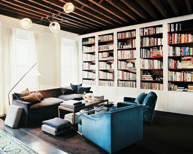 books & blue velvet chairs: Blue Velvet, Bookshelves, Home Libraries, Built In, Livingroom, Interiors Design, Living Room, Bookcas, Lonny Magazine