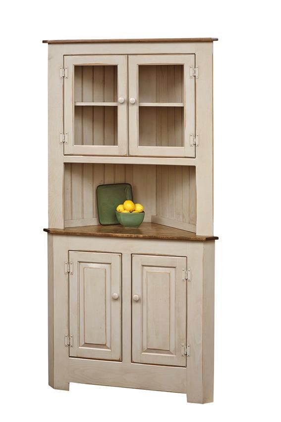 Pine Wood Corner Hutch  Heritage Pine Collection  This adorable Amish Corner Hutch is handcrafted from solid Eastern White Pine Wood.  Design a custom look for your Pine Wood Corner Hutc