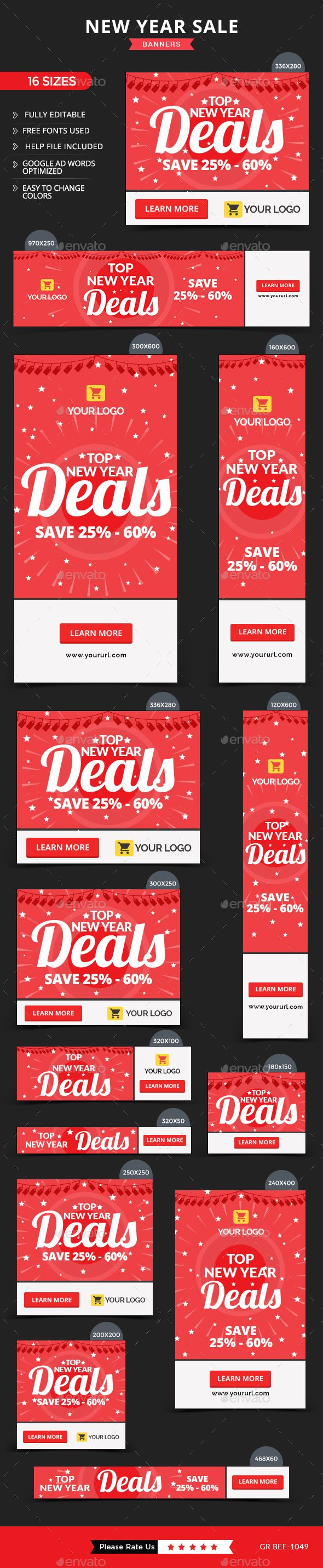 New Year Sale Web Banners Template PSD #design #ad Download: http://graphicriver.net/item/new-year-sale-banners/14119534?ref=ksioks