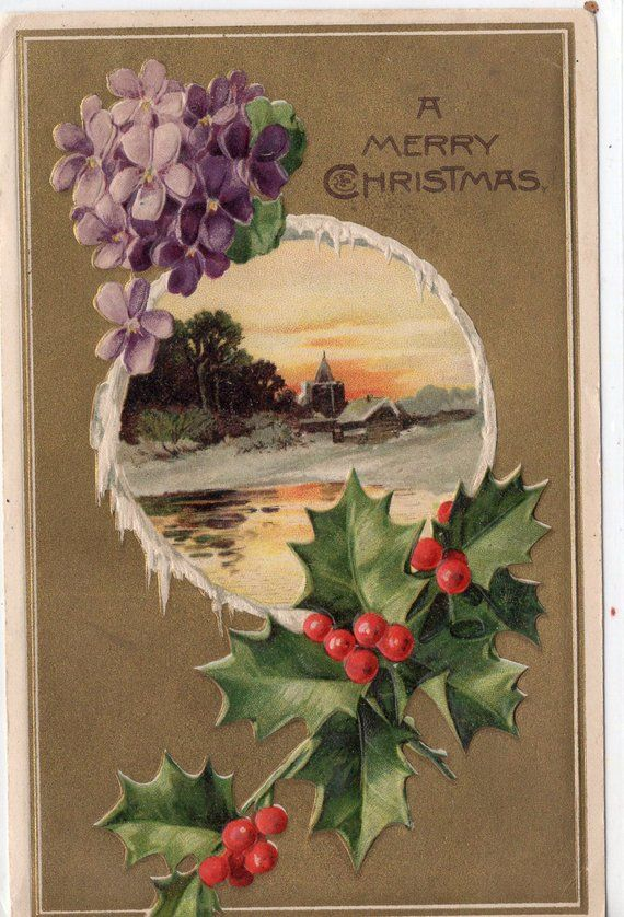Antique Embossed Christmas Postcard, Merry Christmas, church