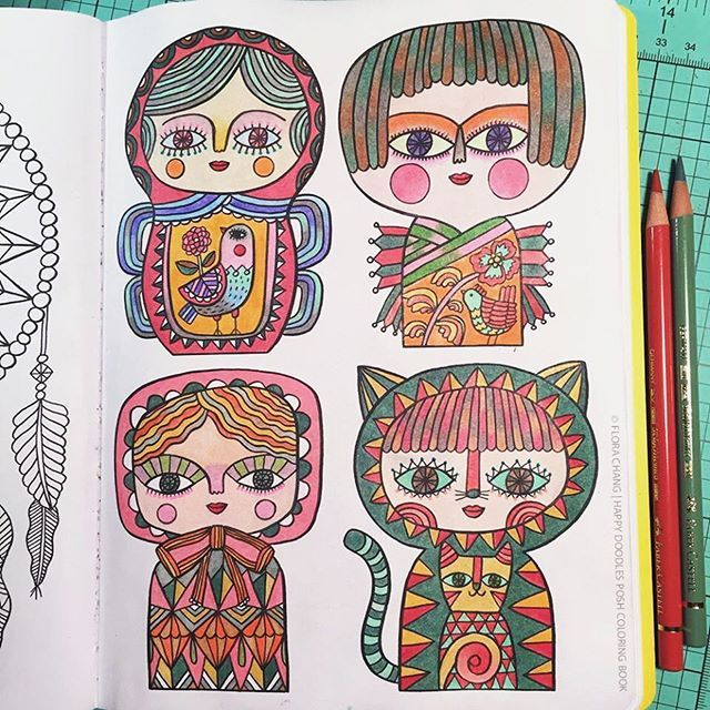 A Finished Page From Happy Doodles Posh Coloring Book By Flora Chang Book Link