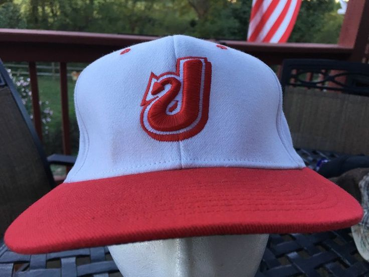 """This 98% polyester 2% spandex flex fit baseball cap is that of the Jeffersonville High School Red Devils of Jeffersonville, Indiana. The white hat features a red bill and logo. Fits medium (7 3/8"""") to extra large (8"""") sized heads.   eBay!"""