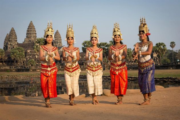 Cambodian women wear traditional Sampot