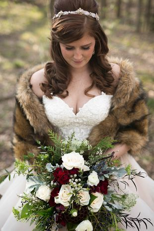 Bridal look for winter wedding - fur wrap on romantic ball gown {Paisley Layne Photography}