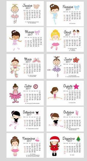 Confira alguns modelos de Calendários 2017 prontos para imprimir para menino e menina.