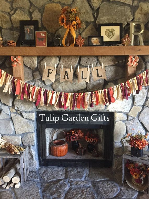 Fall or Halloween Rag Garland with Optional Chevron Burlap Button Bows, Fall…
