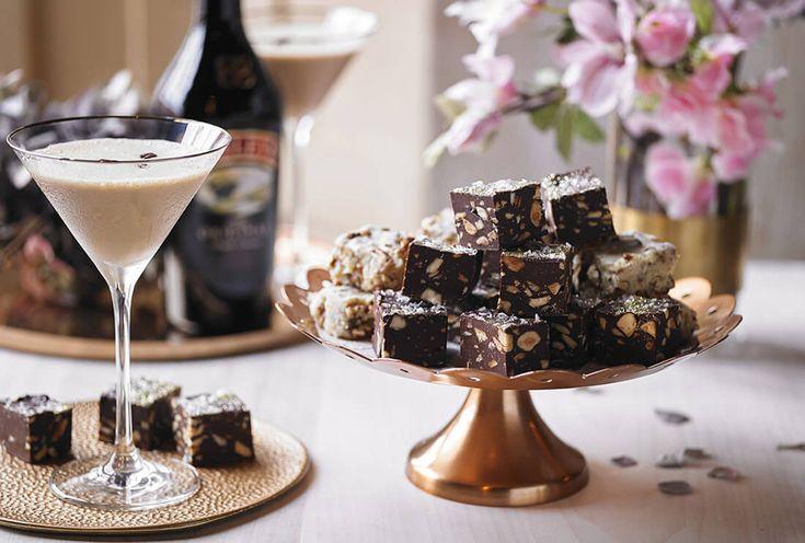 Baileys salted chocolate truffles and white chocolate pecan fudge