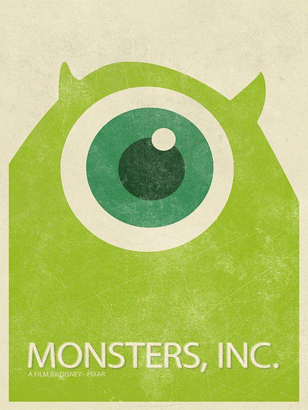 MONSTERS INC Cartoon Poster Wazowski Retro by BaydleCreative