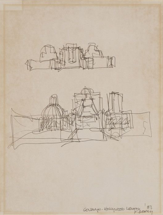 Drawings from Famous Architects' Formative Stages to be Exhibited in St. Louis,Frank Gehry, Goldwyn-Hollywood Library, 1983. Image Courtesy of Kemper Art Museum