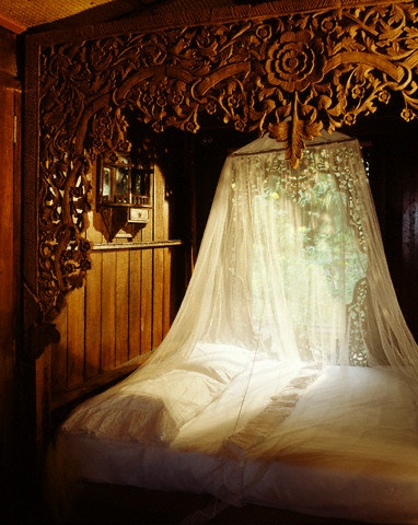 carved bed, bed net, amazing, romantic