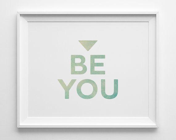 Be you inspirational print inspirational kids wall art teens bedroom decor motivational for Inspirational wall art for bedroom