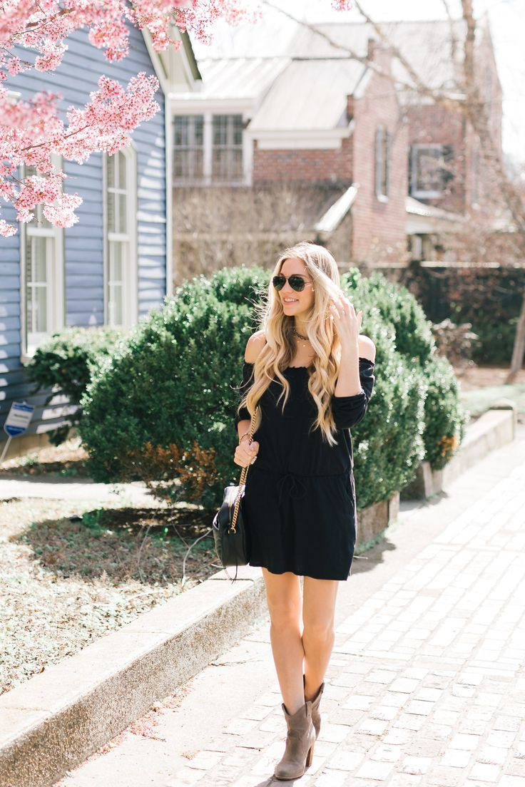 Little black dress | How to style a little black dress | Off the Shoulder dress | Spring outfit ideas