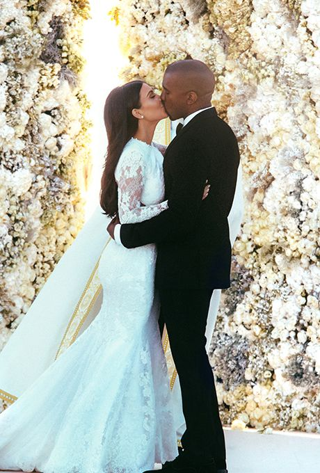 Brides.com: . Kim Kardashian and Kanye West: The Never-Ending Toast. Kim Kardashian and Kanye West are always over the top, and their Europe-hopping wedding was no different. From Jay Z and Beyonce's no-show status to the Gold Toilet Tower, there were too many crazy moments to choose from when it came to the #World'sMostTalkedAboutCouple's big day. But this rumor takes the cake: When Kim switched into her second dress of the night, Kanye reportedly stopped the music and gave a 45-minute ...