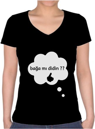 özel tasarım tişort Kendin Tasarla - Bayan V Yaka Tişört