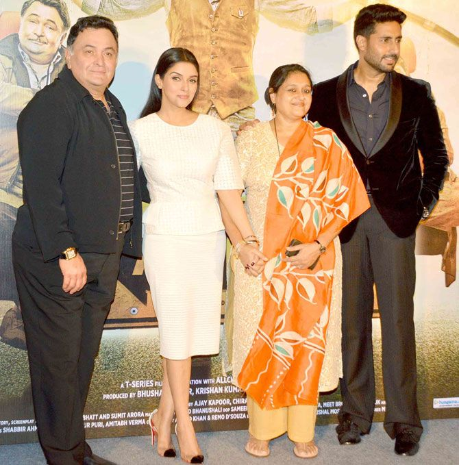 Rishi Kapoor, Asin, Supriya Pathak and Abhishek Bachchan at the trailer launch of 'All is Well'. #Bollywood #AllIsWell #Fashion #Style #Beauty #Handsome