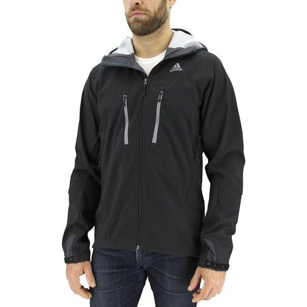 Men's Adidas Swift Climastorm Hooded Performance Jacket (€135) ❤ liked on Polyvore featuring men's fashion, men's clothing, men's activewear, men's activewear jackets, black and mens activewear