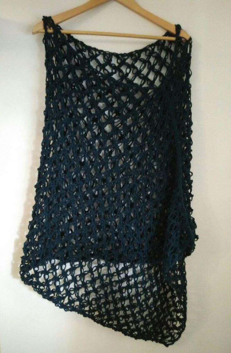 crochet poncho, teal, lace by yrozafcrocheting on Etsy