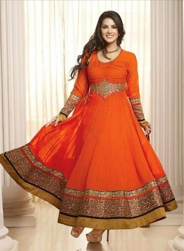 Buy online this Sunny Leone Anarkali In Orange with Lace, Patchwork,Resham | Anarkali Suit | Scoop.it
