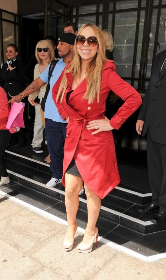 Mariah Carey arriving at The Dorchester Hotel in Central London.