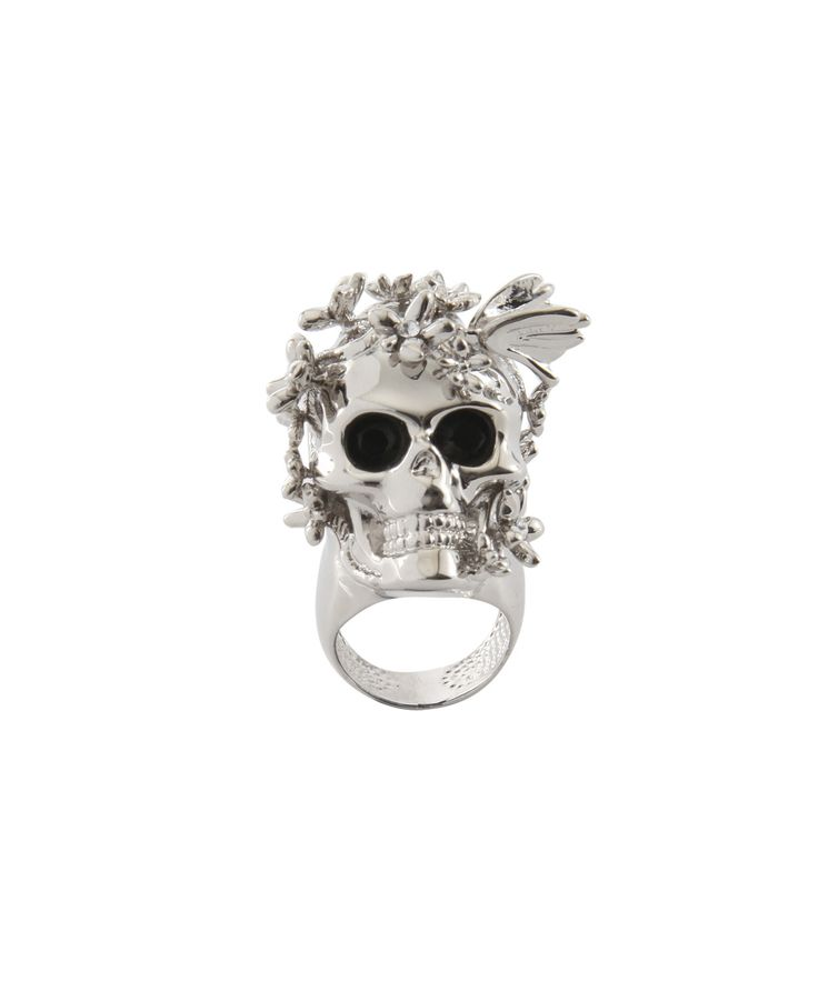 !!!!!!!!!!!Alexander McQueen | Skull with flowers ring