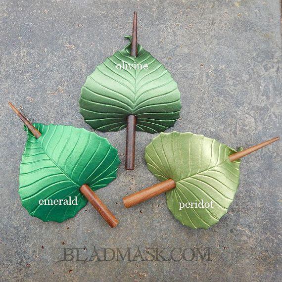 Foglia verde in pelle capelli accessori scialle Pin o capelli