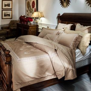 Papa&Mima Noble Royal Court Lace Edge Brown Queen King Size Bedding Set Embroidery Technics Egyptian Cotton Duvet Cover Sets