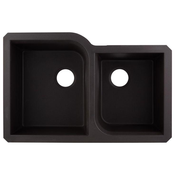"32"" Orland Double-Bowl Undermount Granite Composite Sink - Black"