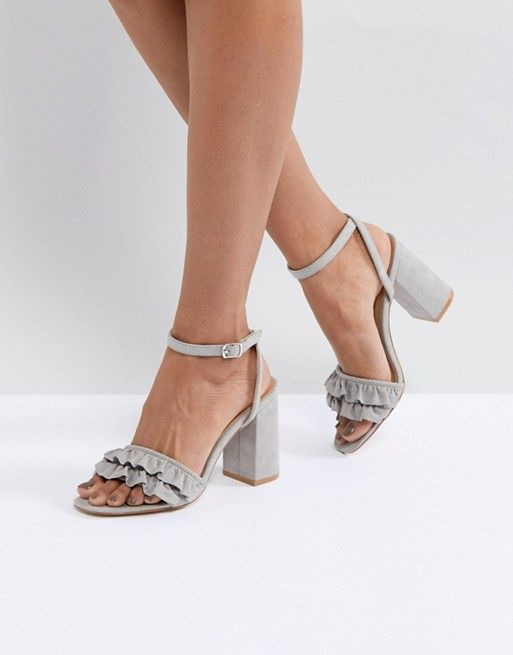 9334d845bd Truffle Collection Ruffle Block Heel Sandal | Grey and white shoes ...