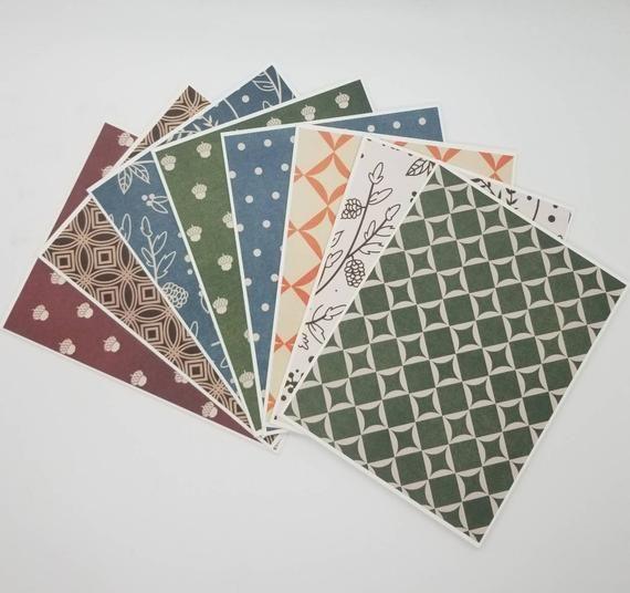 Handmade paper set of ten 4x 5 fall leaf paper