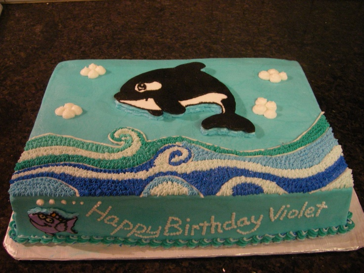 Violet's Whale Cake - Buttercream, FBCT whale & little fish on the front.