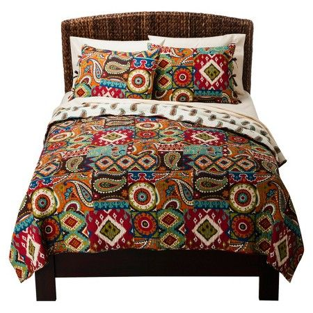 Makayla Reversible Global Print Quilt Set Queen 3 Piece