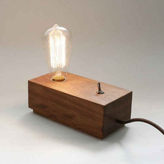 Vintage Edison wooden Lamp Base old fashion with T64 light bulb wood desk table lamps