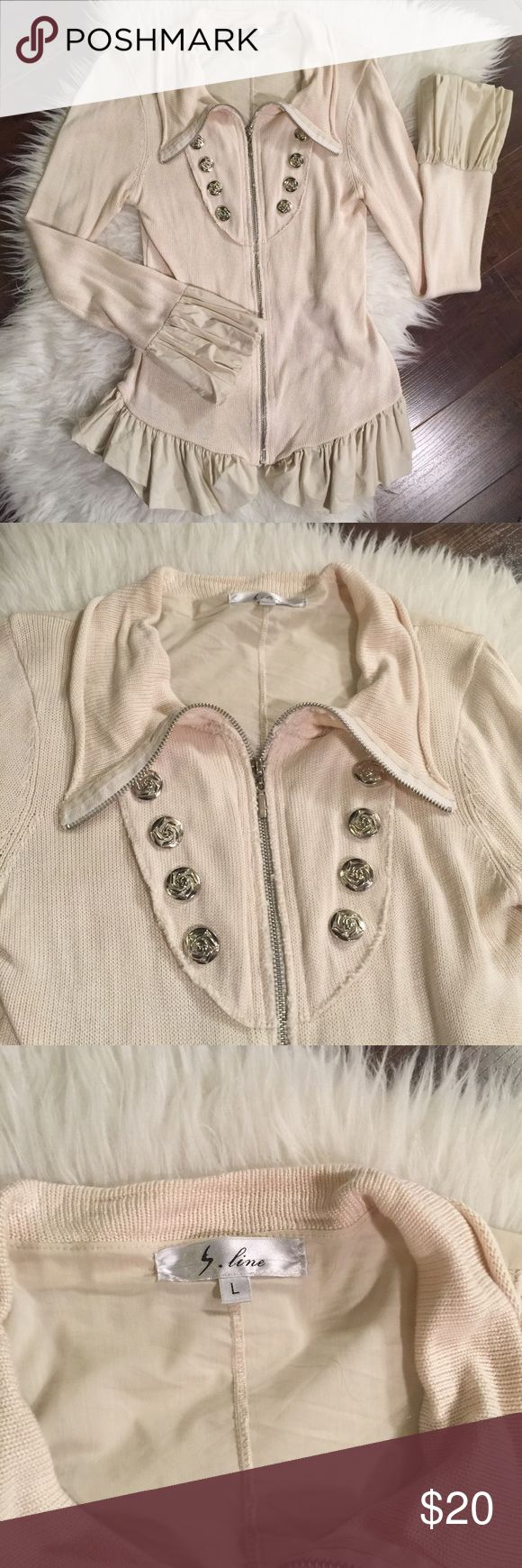 Cream ruffle jacket. Women's cream ruffle zip up Excellent used condition womens cream jacket with ruffle details. Purchased from the Buckle. Worn maybe 3 times. Very unique. No low ball offers or trades. Please ask any questions and review photos for details and wear. Size large but fits more like a Medium which is why it's listed that way. Price is firm. Not taking offers. Buckle Sweaters Cardigans