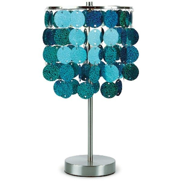 Three Cheers Turquoise Paillette Table Lamp ($65) ❤ liked on Polyvore featuring home, lighting, table lamps, turquoise lamp and turquoise table lamp