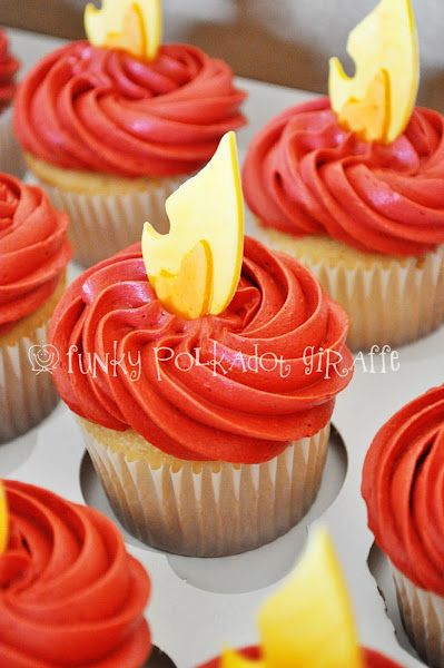 Hunger Games graduation party - cupcakes on fire