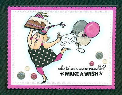 Art Impressions Rubber Stamps: Birthday Wishes Clear Stamps: SKU: 1309152 from Hobby Lobby. Handmade card. balloons, cake