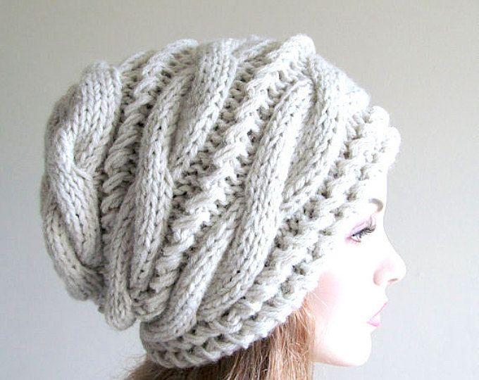 De gran tamaño Baggy gris de slouchy Beanie sombrero de Slouch cableados sombrero para mujer otoño invierno accesorio gris Heather hecho punto de la