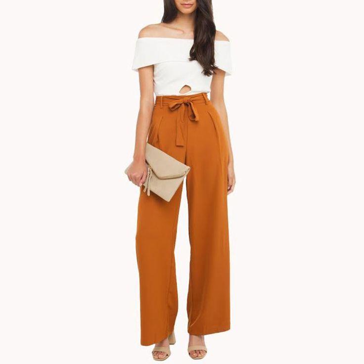 Aliexpress.com: Acheter Hdy haoduoyi de mode cordon large jambe pantalon femmes de haute taille mince pantalon femelle solide orange plissée casual pantalon de wide leg pants fiable fournisseurs sur NEW FASHIONS
