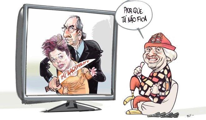 Charge usa slogan de campanha de Tiririca para ironizar a situação de Dilma e Cunha. | Paixão/Gazeta do Povo