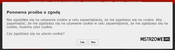 Ostrzeżenie o ciasteczkach na stronie - poziom 2 :)