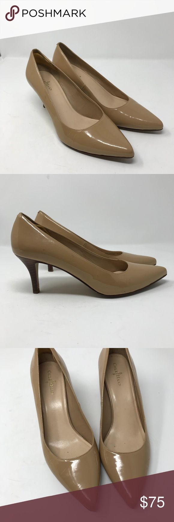 Cole Haan Juliana tan patent leather pointy toes