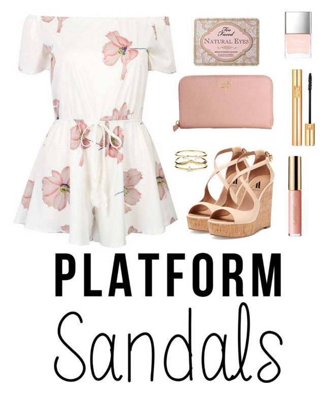 """Les sandales plateformes pour la féminine"" by marie-dorothy ❤ liked on Polyvore featuring Ava & Aiden, Prada, tarte, Yves Saint Laurent, Butter London, Too Faced Cosmetics, Accessorize, sandals, platform and contestentry"
