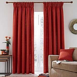 Vermont Orange Lined Pencil Pleat Curtains | Dunelm