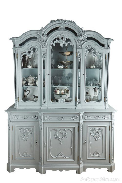 Large French Carved And Painted Display Cabinet - Antiques Atlas