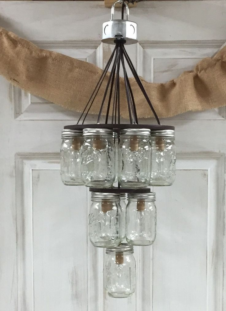 mason jar chandelier 3 tier places masons and products. Black Bedroom Furniture Sets. Home Design Ideas