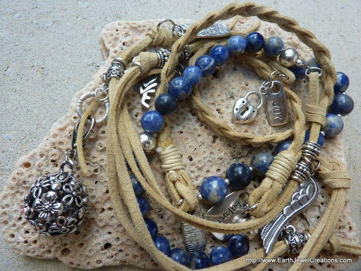 Sodalite 2-Tone Love Wrap - handmade crystal energy gemstone jewellery Earth Jewel Creations Australia