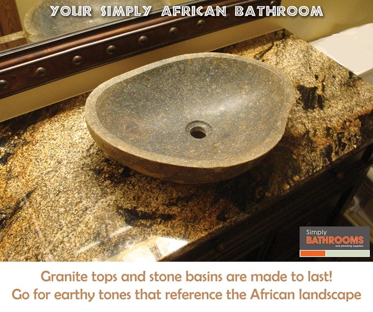 Go for granite and stone in your Simply African Bathroom! #BathroomDecor #HomeImprovements