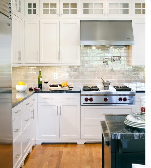 Backsplashes With White Cabinets: Iridescent Backsplash Tile