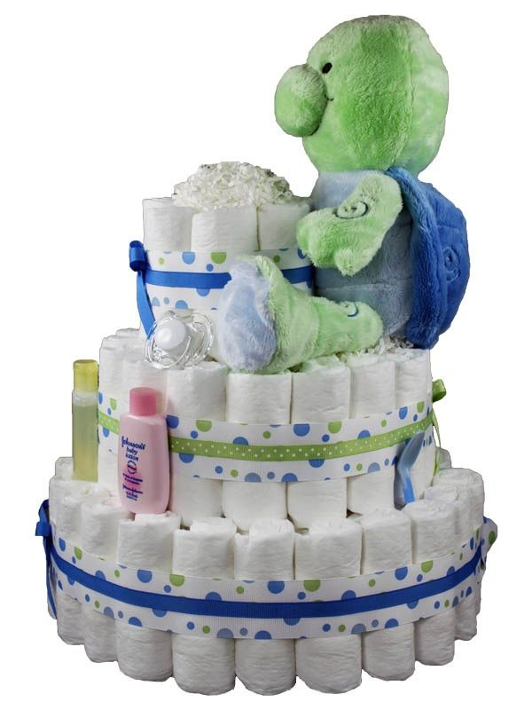 Blue and Green Diaper Cakes | Image detail for -Bubbly Blue & Green Turtle Diaper Cake 3 Tier